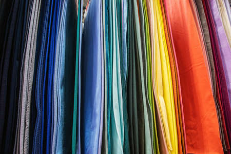 fabrics made of different materials, shades and colors for the production Foto de archivo