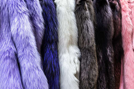 natural fur skins of different shades and colors.