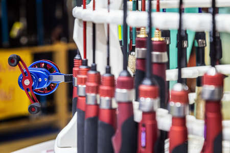 fishing inertial reel the counter in the fishing store