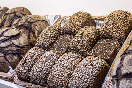 Whole-grain loaves with seeds and cereals