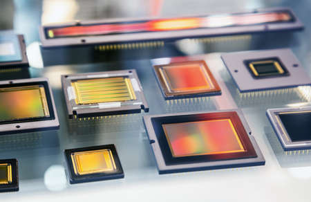 processors of various shapes and circuits for microelectronic Foto de archivo