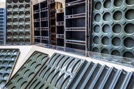 metal molds for baking bread and confectionery products at a bakery Foto de archivo