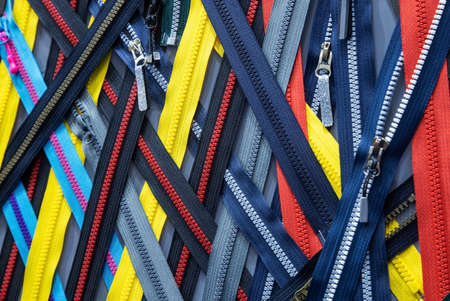 different color, length and type of zipper in the atelier Foto de archivo