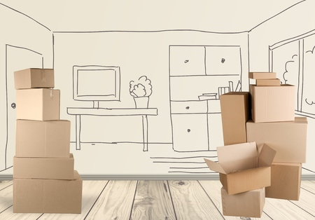 house moving: Box, Cardboard Box, Moving Office. Stock Photo