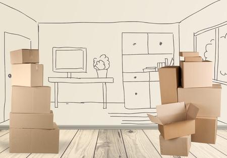 Box, Cardboard Box, Moving Office. Standard-Bild