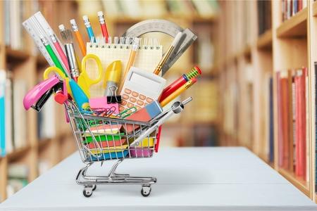 shopping cart isolated: Education, Back to School, Shopping. Stock Photo