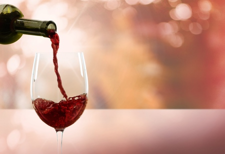 wine: Wine, Pouring, Glass. Stock Photo