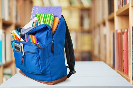 back to school background: School, backpack, back. Stock Photo