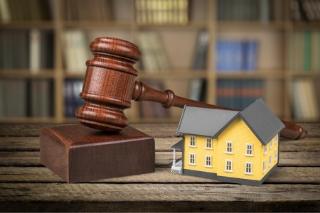 real estate: Auction, Law, House. Stock Photo