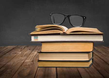bibliophile: Students, hipster, books. Stock Photo