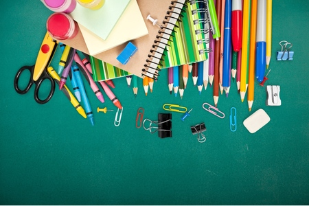 supplies: School, isolated, crayons. Stock Photo