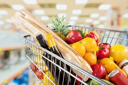 grocery shelves: Supermarket, Shopping, Groceries. Stock Photo