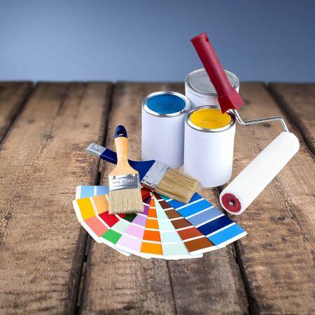 descriptive colour: Paint, Paint Can, Paintbrush. Stock Photo
