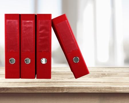 ring file: File, Ring Binder, Red. Stock Photo