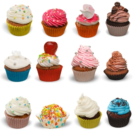 cupcakes: Cupcake, Isolated, Multi Colored. Stock Photo