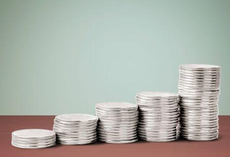 coin silver: Coin, Silver, Stack. Stock Photo