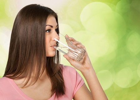 glass of water: Water, Drinking, Women. Stock Photo