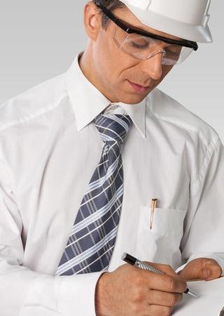 engineering clipboard: Osha, Safety, Inspector. Stock Photo