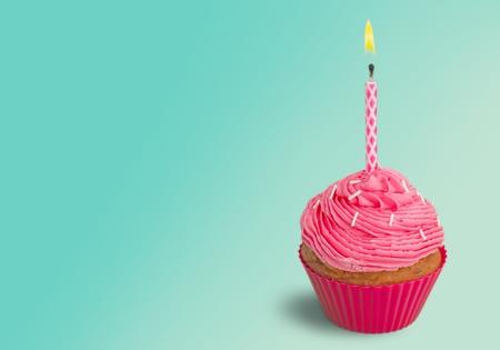 birthday candle: Birthday, Cupcake, Cake. Stock Photo