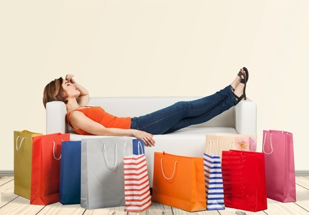 ショッピング、ショッピング バッグ、女性。 写真素材