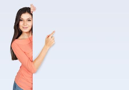 Femmes, Montrer du doigt, Affichage. Banque d'images - 41211065