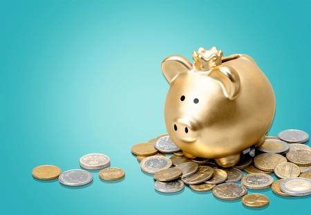 Piggy, bank, Geld. Standard-Bild