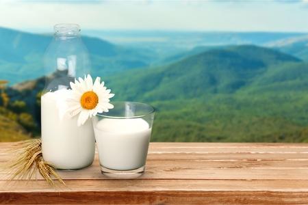 Milk, Glass, Milk Bottle. Stock Photo