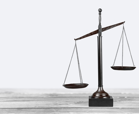 law scale: Scales of Justice, Weight Scale, Balance. Stock Photo