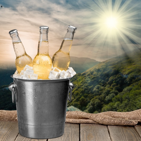 beer bucket: Beer Bottle, Beer, Bucket. Stock Photo