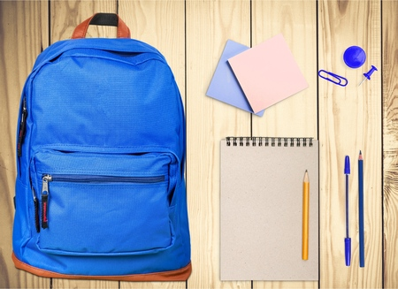 school bags: Backpack, bag, school. Stock Photo
