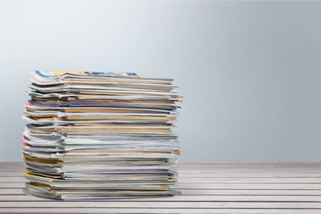 stack of paper: Magazine, Stack, Paper. Stock Photo