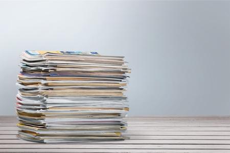 magazine stack: Magazine, Stack, Paper. Stock Photo