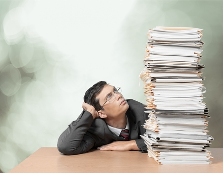 worried businessman: Document, Stack, Paperwork.