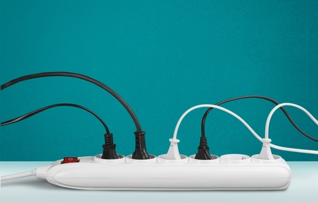 domestic: Outlet, Electric Plug, Power Cable. Stock Photo