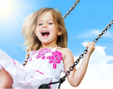 girl open mouth: Child, Playing, Playground. Stock Photo