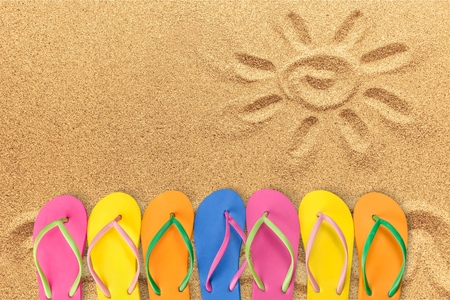 medium group of objects: Summer, Flip-flop, Fun. Stock Photo
