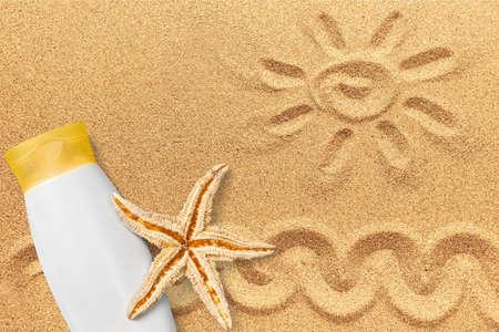 suntan lotion: Suntan Lotion, Starfish, Bottle.
