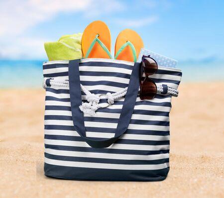 flipflops: Summer, bag, isolated.