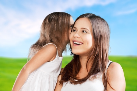 pre adult: Mother, daughter, bio. Stock Photo