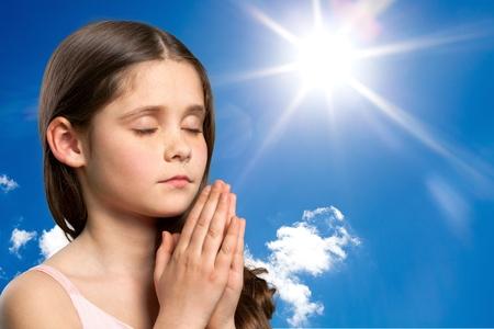 Praying, Child, Asian Ethnicity. Stock Photo