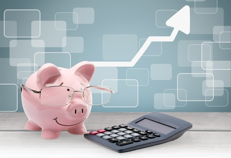 pig out: Savings, Calculator, Pig. Stock Photo
