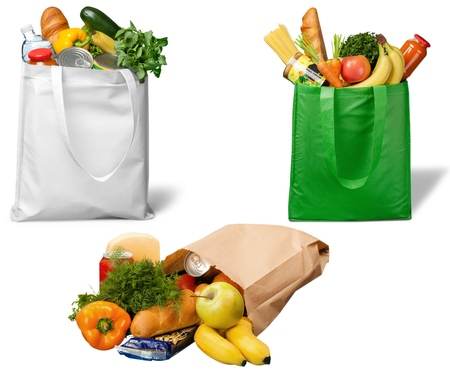 grocery: Bag, Groceries, Recycling. Stock Photo