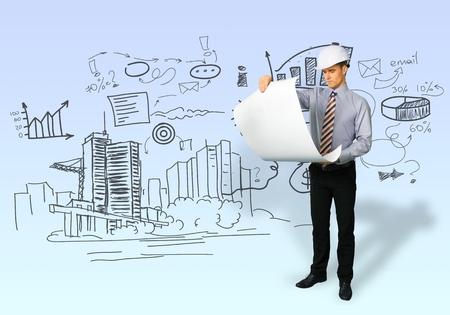 architect drawing: Drawing, draw, architect. Stock Photo