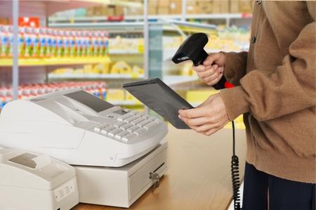 sales person: Cash Register, Retail Occupation, Bar Code Reader.