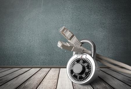 Beveiliging, netwerkbeveiliging, Internet. Stockfoto