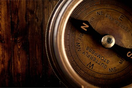 upperdeck view: Compass, The Way Forward, Isolated. Stock Photo