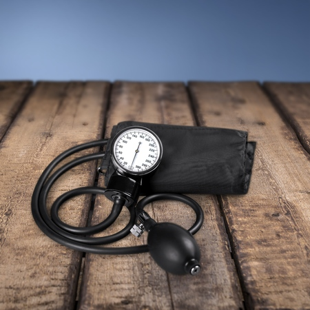 hypertensive: Blood Pressure Gauge, Hypertensive, Emotional Stress. Stock Photo