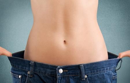 mujeres gordas: Peso, pérdida, el éxito. Foto de archivo