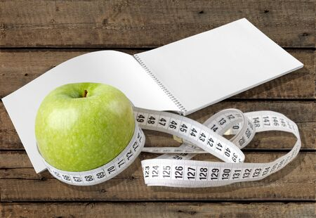 Healthy Lifestyle, Healthy Eating, Tape Measure. Stock Photo