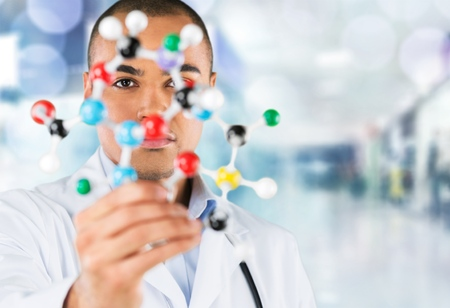 Student, chemistry, isolated. Stock Photo